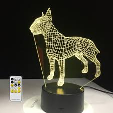 Light Box Terrier For Sale Bull Terrier Visual 3d Led Night Light Lamp With Remote Control