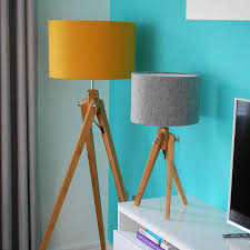 wooden tripod floor lamp with felt shade 32 coloursquirk pertaining to floor lamp with matching table