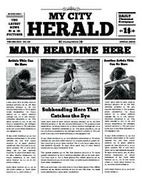 Newspaper Layout On Word The City Herald Front Page Free Newspaper Templates Print
