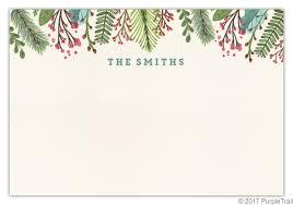 Christmas Notecard Woodgrain Holiday Leaves Christmas Notecard Christmas Thank You Cards
