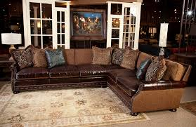 Living Room Furniture Sectionals Fabric And Leather Sectional Sofa Great For Media Room All