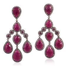 image is loading 41 97ct ruby diamond chandelier earrings 18kt gold