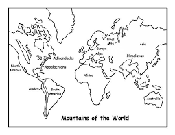 Mountains Of The World Map Geology World Map Coloring Page Kids