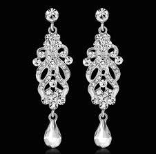 elegant crystal chandelier wedding dangle earrings for bridal jewelry silver color rhinestone fashion wedding party jewelry wedding dangle earrings bridal