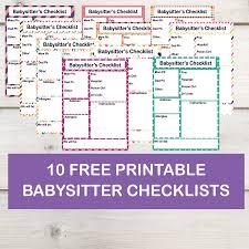 babysitter information sheet printable free printable babysitter checklist