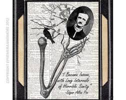 edgar allan poe and virginia art print love quote heart edgar allan poe insane art print wall decor literary quote upcycled vintage dictionary book page horror