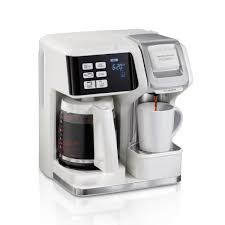 This is a basic coffee maker that has a clock and a timer so that you could have your brew at a set time. Hamilton Beach Flexbrew 2 Way 12 Cup White Drip Coffee Maker With Built In Timer 49947 The Home Depot