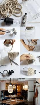 Lmpara DIY con tarro y cuerda