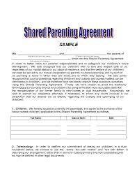examples of custody agreements shared custody agreement examples