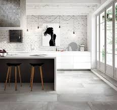 white brick wall and large floor tile ideas for modern kitchen
