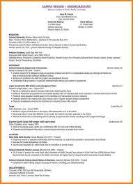 Undergraduate College Resume Template 9 Resume Template For Undergraduate Student Professional