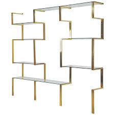 architectural brass etagere shelving unit after milo baughman 1970s for