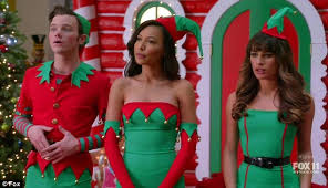 merry trio glee s lea michele naya rivera and chris colfer kicked off the