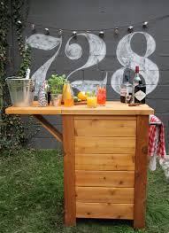 an outdoor bar idea made from wood