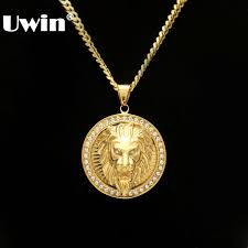 mens hip hop jewelry iced out gold color fashion bling bling lion head pendant men necklace