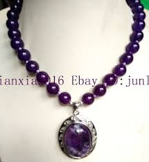 new 10mm purple russian amethyst gemstone pendants necklace 18 aaa