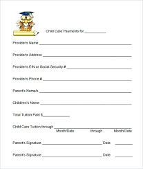 Daycare Form New Daycare Payment Form Proof Of Child Care Letter Template Expenses