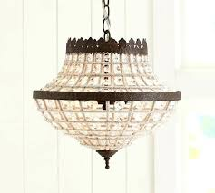 decoration beaded crystal chandelier elena wood bead pottery barn