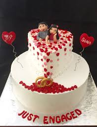 Engagement Cake With Cute Couple Toppers Whipped Cream Cake With