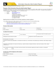 Best Photos Of Security Incident Report Template Security