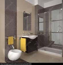 Modernes Bad Mit Beigen Und Braunen Fliesen Lizenzfreies Foto