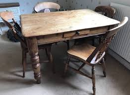 beautiful rustic farmhouse dining table 4 chairs vintage set