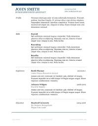 Resume Templates Ms Word