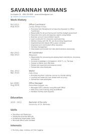 Office Coordinator Resume samples