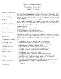 Resume Template For Warehouse Position Cv Work Supervisor Vimoso Co