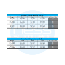 Arena Swim Size Chart Arena Junior Swimwear Size Guide Ness Swimwear