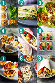 collage image with nine meal prep ideas for wraps and pitas