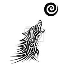 Fototapeta Vlk Tetování Vlk Tetování Kmenové Vektorové Skici Návrhu Jednoduché