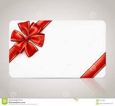 Gift Card With Red Ribbon Bow Stock Vector Image 60179038