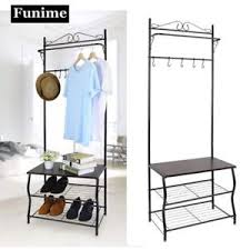 Coat Stand And Shoe Rack Metal Hall Tree Entryway Multipurpose Clothes Coat Stand Shoes Rack 36