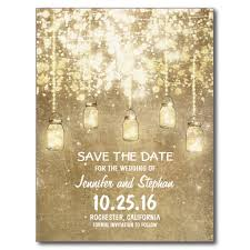 Blank Save The Date Cards Romantic String Lights Mason Jars Save The Date Postcard