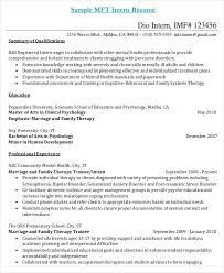 Mft Intern Resume Choppix
