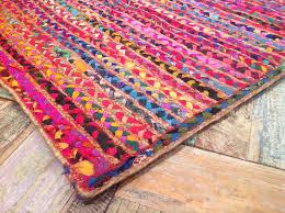 thick multi colour cotton jute braided rug
