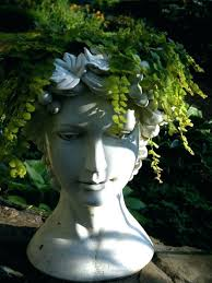 garden head planters head planters planter delicate with fern head how to make stone head planters