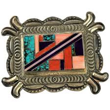 Herman Smith Estate Find Signed Inlay Native American Brooch : MJG Designs  | Ruby Lane