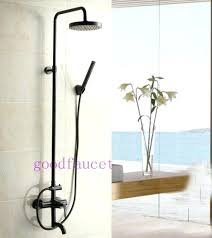 antique faucet wall waterfall bronze shower set bathroom water saving head rain oil rubbed tub and