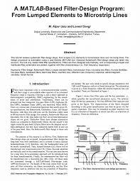 Microwave Filter Design Software Free Pdf A Matlab Based Filter Design Program From Lumped