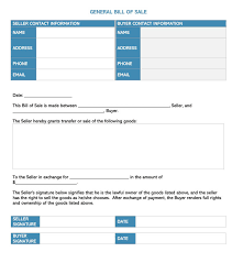 General Bill Of Sale Form Free Bill Of Sale Form 30 Free Templates For Every State