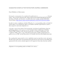 Cover Letter For Manuscript Submission To Journal Sample