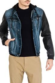 point zero faux leather sleeve jean jacket in denim and black