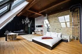 Bedroom, Hardwood Flooring In Whimsical Loft Bedroom Idea And Silver  Bathtub Design Feat Elegant Black