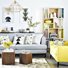 grey and yellow living room a light grey sofa with a bright yellow chair in the