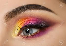 colse up of woman eye with beautiful colourful makeup stock photo 33885739