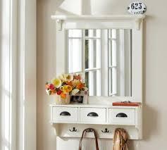 Coat Rack With Mirror WallMount Entryway Organizer Mirror White Pottery Barn Noni's 27