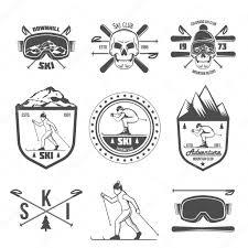 ヴィンテージラベル スキーとデザイン要素のセット ストックベクター