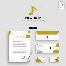 Stationery Letterhead F Music Logo Template Vector Illustration And Stationery Letterhead